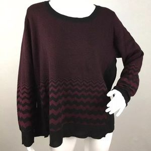 Verve ami chevron zipper back sweater plus maroon